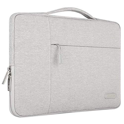 MOSISO Laptop Briefcase Handbag Compatible 13-13.3 Inch MacBook Air, MacBook Pro, Notebook Computer, Polyester Multifunctional Carrying Sleeve Case Cover Bag, Gray