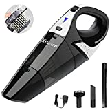 Handheld Vacuum,hikeren Cordless Vacuum Cleaner, 12V 100W with Quick Charge, Light Weight Portable Hand Held Vacuum, Durable Stainless Steel Filter, Carry Bag, Black