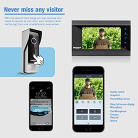 7-Inch-Wireless-WIFI-IP-Video-Intercom-Entry-System-Video-Door-Phone-with-1-x-1200TVL-Wired-Camera-Support-Recording-Instant-Remote-Release-via-your-Smartphone-by-TMEZON