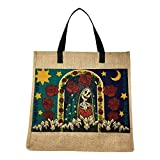 SpiritTote Sugar Skull X-Large Tote Bag: Day of the Dead Festive Jute Bag for Oversized Outings (Santa Muerte)