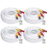 WildHD 4x150ft All-in-One Siamese BNC Video and Power Security Camera Cable BNC Extension Wire Cord with 2 Female Connetors for All Max 5MP HD CCTV DVR Surveillance System (4x150ft Bnc Cable White)
