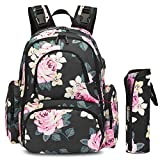 CoolBELL Baby Diaper Backpack Bag with Insulated Pockets/Water-Resistant Baby Bag/Multi-Functional Travel Knapsack with USB Charging Port for Men/Women/Girls/Boys (Black Peony)