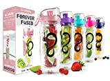 Live Infinitely 32 oz. Infuser Water Bottles - Featuring a Full Length Infusion Rod, Flip Top Lid, Dual Hand Grips & Recipe Ebook Gift (Rose Gold, 32 oz)