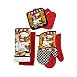 Home Collection Chef-Themed Kitchen Mitts, Pot Holder, Kitchen Towels Set (Red)