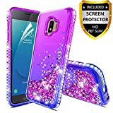 Samsung Galaxy J2 Case,Galaxy J2 Core/J2 Dash/J2 Pure/J2 Shine Case Glitter Liquid Quicksand Floating Shiny Sparkle Flowing Bling Diamond Luxury Clear Cute Case Cover for Girls Women Purple/Blue