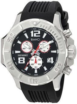 ROBERTO BIANCI WATCHES Men's Aulia Stainless Steel Quartz Watch with Silicone Strap, Black, 23.5 (Model: RB55050)