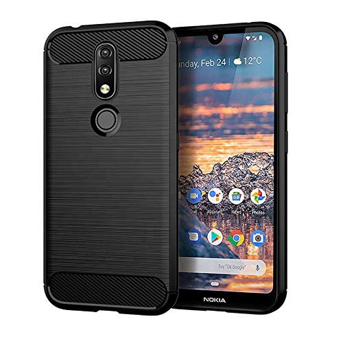 Prime Retail Dual Layer Carbon Fiber Hybrid Finish Pudding Back Cover Clear Thin Case for Nokia 4.2 1
