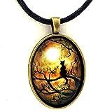 Black Cat Pendant Necklace Full Moon Moss Tree Branches Zen Handmade Jewelry Art Earthy Halloween