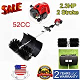 XYOUNG Hand Held Sweeper, 52cc 2.3HP Gas Power Broom Dirt Walkways Behind Sweeper Cleaning Machine Driveway Lawns Broom Tools High Performance Cleaner 1.7kw