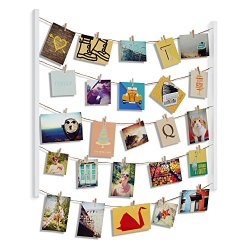 Umbra Hangit Photo Display – DIY Picture Frames Collage Set Includes Picture Hanging Wire Twine Cords, Natural Wood Wall…