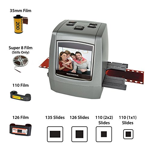 Magnasonic All-in-One High Resolution 22MP Film Scanner, Converts 126KPK/135/110/Super 8 Films, Slides, Negatives into Digital Photos, Vibrant 2.4' LCD Screen, Impressive 128MB Built-in Memory