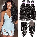 Flady Brazilian Virgin Curly Hair 3 Bundles with Closure 8a Grade Virgin Unprocessed Human Hair Bundles with Closure Free Part (22 24 26+20inch)