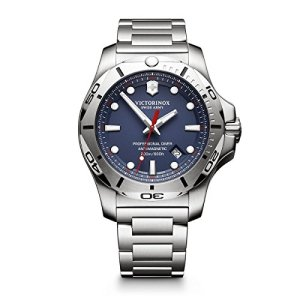 Victorinox Swiss Army Men's I.N.O.X. Swiss-Quartz Watch with Stainless-Steel Strap, Silver, 22 (Model: 241782