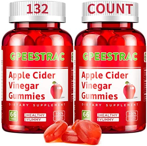 Apple Cider Vinegar Gummies for Detox Cleanse Weight Loss and Immunity Support, GPEESTRAC ACV Vitamins with The Mother Raw Organic Unfiltered Vitamins B9 B12(2 Pack, 132 Gummies) 1