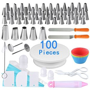 100 Pieces Cake Decorating Supplies Kit, Icing Bags Piping Nozzles and Cake Turntable Stand Professional Cake Making Tools by AUSTOR 51X1FNc7xjL
