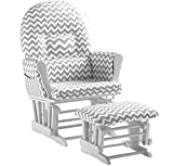 Naomi Home Brisbane Glider & Ottoman Set White/Gray Chevron