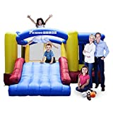[Upgrade Version] PicassoTiles KC102 12x10 Foot Inflatable Bouncer Jumping Bouncing House, Jump Slide, Dunk Playhouse w/ Basketball Rim, 4 Sports Balls, Full-Size Entry, 580W ETL Certified Blower
