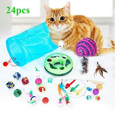 WERTYCITY 35pcs Cat Toys Kitten Toys Assortments, 3 Way Tunnel, Catnip Fish, Feather Teaser, Interactive Cat Feather Wand, Mice Balls and Bells Toys for Cat, Puppy, Kitty