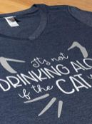 Its-Not-Drinking-Alone-if-Cat-is-Home-Funny-Joke-Fun-V-Neck-T-Shirt-for-Women-Vintage-Navy