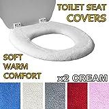 Medipaq Toilet Seat Cover - Super Warm Fleece - Retaining Ring - Universal Fit - Machine Washable 2X Cream