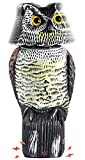 Ohuhu Horned Owl Decoy with 3 Different Tweets & Rotating Head, Fake Owl Scarecrow to Scare Birds Away