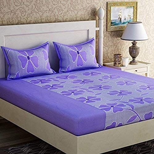 51X8UzxKq8L - Fabture Flower Printed Glace Cotton 182 TC Double Bedsheet with 2 Pillow Covers (Full_Purple)