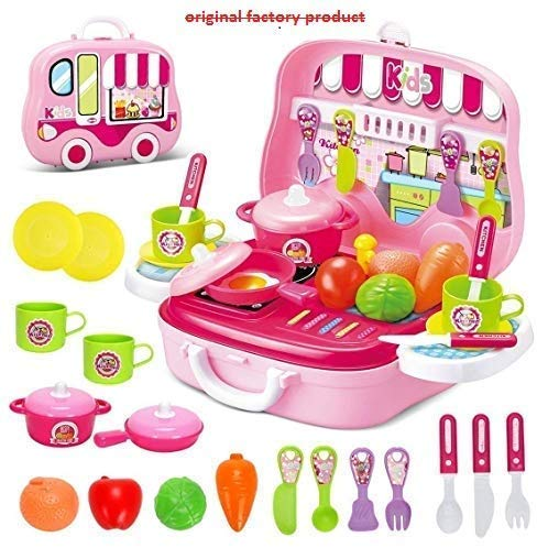 Kidszone Kitchen Set Toy For Girls With Wheel Carry Case Suitcase 26 Pink Kitchen Kitchen Playset