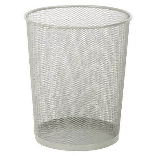 Honey-Can-Do TRS-02101 Steel Mesh Powder-Coated Waste Basket, Silver, 18-Liter/4.7-Gallon Capacity, 11.75 x 14-Inches Tall