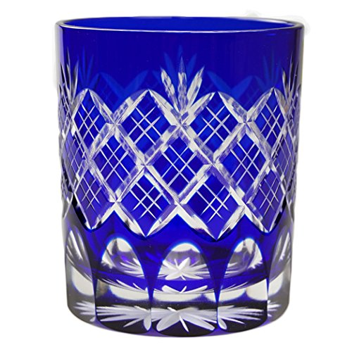 Double Old Fashioned Glass 9.4Oz Edo Kiriko Design Cut Glass Kasane Yarai - Blue [Japanese Crafts Sakura]
