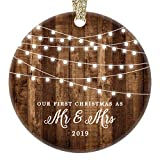 First Christmas as Mr & Mrs Ornament 2019 Rustic 1st Year Married Newlyweds 3' Flat Circle Porcelain Ceramic Ornament w Glossy Glaze, Gold Ribbon & Free Gift Box | OR00300 Delfino