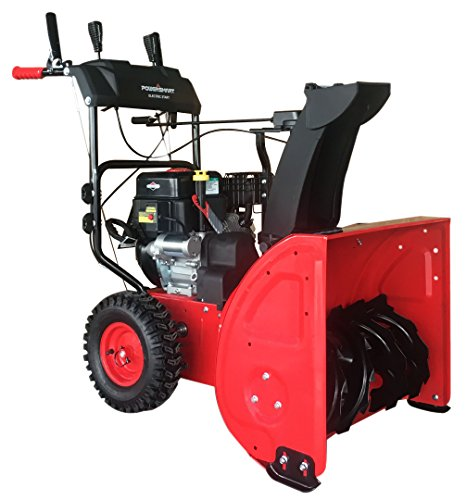 PowerSmart DB7651BS-24 2-Stage Briggs & Stratton Gas Snow Blower, 24', Red, Black