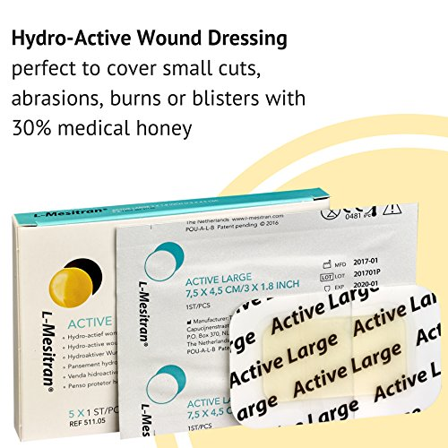 Medical Grade Honey Bandages (5 Pieces in 1 Pack) – 30% Honey – Wounds Healing Antibacterial Waterproof Medicated Best Dressing to Cover Small Cuts, Abrasions, and Burns deal 50% off 51XAqY3T0ML