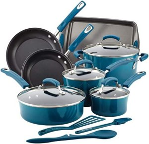 Rachael Ray Brights Nonstick Cookware Set / Pots and Pans Set – 14 Piece, Marine Blue