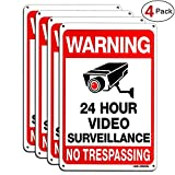 HISVISION Video Surveillance Sign 4-Pack, No Trespassing Metal Reflective Warning Sign,UV Protected & Waterproof, 10'x 7' 0.40 Aluminum Indoor Or Outdoor Use for Home Business CCTV Security Camera