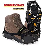 Upgraded Version Of Walk Traction Ice Cleat Spikes Crampons,True Stainless Steel Spikes And Durable Silicone,/Boots For Hiking On Ice&Snow Ground,Mountian.-By EnergeticSky (Black, XL)