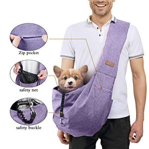 TOMKAS Small Medium Dog Cat Carrier Sling Pet Puppy Outdoor Travel Bag Tote with Net Pocket