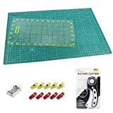 KEAYOO 45mm Rotary Cutter Quilting Kit,Quilting Supplies,A3 Cutting Mat Set of 6 (Ruler in inches)