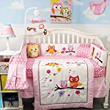 SoHo Baby Crib Bedding 14Pc w Diaper Bag, Pink Owl