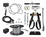 150 FT to 500 FT Ultimate Torpedo Zip Line Kit - 5/16' Galvanized Aircraft Cable for 350 lb. Weight Limit