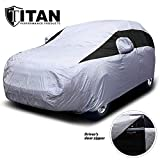Titan Lightweight Car Cover | Mid-Size SUV | Fits Ford Explorer, Jeep Grand Cherokee, and More | Waterproof Cover Measures 206 Inches, Includes a Cable and Lock and Driver-Side Door Zipper