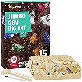Dan & Darci Mega Gem Dig Kit - Dig up 15 Real Gemstones - Great Science, Gemology, Mining Gift Kids, Boys Girls - Rocks, Minerals, Excavation Toys