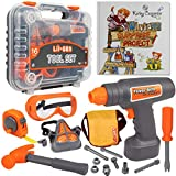 Li'l-Gen Kids Tool Set with Book, Pretend Play Toys for Boys and Girls Age 3+, 16 Pieces Tools Plus Case - Includes Oliver's Surprise Project! Book