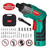 Cordless Screwdriver 6 N.m, HYCHIKA 3.6V 2.0Ah Electric Screwdriver, Front LED and Rear Flashlight, Ratchet Wrench, DC Charging with USB Cable, 36pcs Accessories, Carrying Box