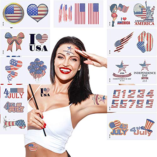 Independence Day Temporary Tattoo Stickers,4th July Waterproof Sweatproof Tattoo Stickers for Men Women American Star Flag Tattoo Patriot Party Face Arm Stickers 33 Pattern(10 Sheets)