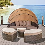 Solaura Outdoor Patio Round Daybed with Retractable Canopy and Brown Wicker, Seating Separates Cushioned Seats (4 Light Brown Pillow)