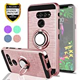 LG G8 Case LG G8 ThinQ Case with HD Screen Protector, YmhxcY 360 Degree Rotating Ring & Bracket Dual Layer Shock Bumper Cover for LG G8 ThinQ-ZH Rose Gold