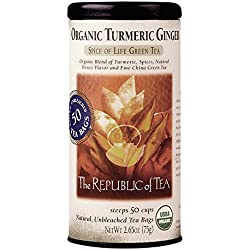The Republic of Tea Organic Turmeric Ginger Green Tea, Gourmet Green Tea And Turmeric Tea (50 Tea Bags)