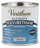 Rust-Oleum Varathane 200261H 1/2-Pint Interior Crystal Clear Polyurethane, Water-Based Satin Finish