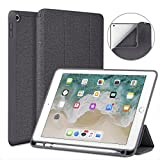 Soke New iPad 9.7 2018/2017 Case with Pencil Holder, Smart iPad Case Trifold Stand with Shockproof Soft TPU Back Cover and Auto Sleep/Wake Function for iPad 9.7 inch 5th/6th Generation, Dark Grey