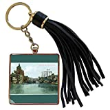 3dRose BLN Vintage US Cities and States Postcards - Milwaukee River, Milwaukee Wisconsin City Scape - Tassel Key Chain (tkc_170926_1)
